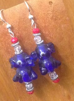 Fourth of July - Handmade Beaded Earrings - Blue Elephants by TheWarriorsJewelry on Etsy