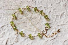 Green Peridot Bracelet 14k Gold Filled Wire by PrincessTingTing