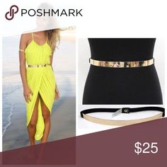 Just In❤ Thin Metal Belt Thin Metal Belt with black elastic back. One size fits most. Accessories Belts