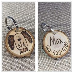 Wooden dog tag, pet id tag, wood slice tag, personalized wood burning, man's best friend collar tag by MalamiStudio on Etsy https://www.etsy.com/listing/255587864/wooden-dog-tag-pet-id-tag-wood-slice-tag