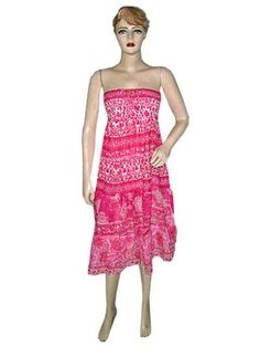 Women Bohemian Dress-hot Pink Multi Wear Strapless Smocked Cotton Dress S Mogul Interior, http://www.amazon.com/dp/B0098U4HIE/ref=cm_sw_r_pi_dp_p0Wtqb1C0G7G9$26.99
