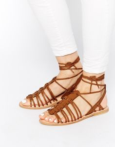 Image 1 of ASOS FUNNEL WEB Leather Gladiator Tie Leg Sandals