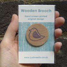 Bird - Wooden Brooch (Purple) £6.00