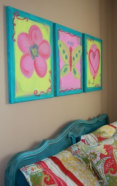 Through My Creative Mind Blog.  Canvas Paintings for a little girls room