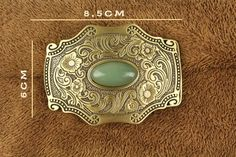 High-Grade Solid Brass Belt Buckle With Inlaid Jade Stone
