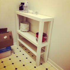 Maybe using 2 stacked Lack TV tables on top of dorm desk for a hutch, but including both shelves.