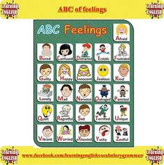 A to Z of feelings picture list - Learning English with videos and pictures | Learning Basic English, to Advanced Over 700 On-Line Lessons and Exercises Free | Scoop.it
