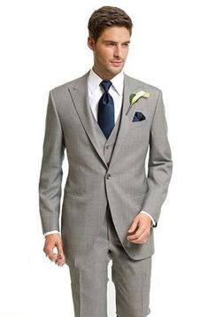 5 pieces One Button Light Grey Groom Tuxedos Groomsmen Mens Wedding Suits Prom Bridegroom (Jacket+Pants+Vest+Tie) NO:268