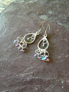 Green Chandelier Earrings Handmade Bohemian by TheHippieBohemian, $19.00