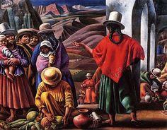 by Antonio Berni Social Realism, Street Mural, Fred, Mexican Artists, Chicano Art, Art Database, Antique Photos, Mural Art, Art History