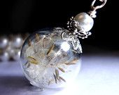 SILVER Dandelion Necklace Make A Wish Dandelion Seed Hollow Lampwork Bead Round Necklace  - 24 inches