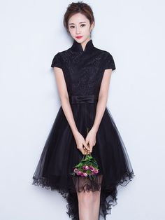 Black Belted Asymmetrical Tulle Qipao / Cheongsam Wedding Dress - CozyLadyWear Outfit Invierno, Ball Gowns Prom, Everyday Dresses, Girly Outfits, Dress P, Traditional Outfits, Dress Collection, Pretty Dresses, Beautiful Outfits