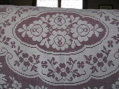 This is a classic vintage lace tablecloth