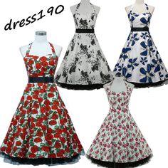 dress190 WHITE HALTER NECK FLORAL 50s ROCKABILLY SWING PROM VINTAGE PARTY DRESS