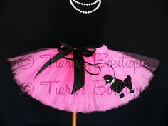 Sock Hop Sweetie - inspired poodle skirt tutu - SEWN tutu in hot pink w/ black poodle appli 50s Theme Parties, Birthday Parties, 50s Sock Hop, Sock Hop Party, Daddy Daughter Dance, Pink Poodle, Holiday Costumes, 50th Party, Handmade Wire