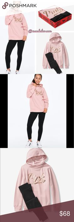 NWT Victoria/'s Secret Pink Chalk Rose Bling Hooded Pullover /& Legging Gift Set L