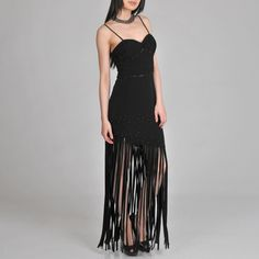 @Overstock - This stunning sleeveless dress by Janine of London is styled with sequined and beaded details, a fitted and shirred bodice, and extra-long fringe at the hemline. Creating a beautiful silhouette, this black dress features a fitted top and tiered bottom.http://www.overstock.com/Clothing-Shoes/Janine-of-London-Womens-Black-Fringed-Evening-Dress/6828271/product.html?CID=214117 $139.09