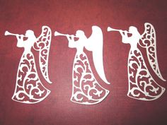 Large White Lace Angel Silhouette Die Cuts by PGTreasures