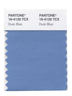 PANTONE 16-4120 Dusk Blue PANTONE 16-4120 Dusk Blue is perennially a favorite shade for men. Reminiscent of the blue sky above, Dusk Blue is ultimately dependable and faithful. In a world that has become increasingly chaotic, the nostalgic Dusk Blue enables us to retreat into a safe place of quiet blue calm.  Leatrice Eiseman Executive Director, Pantone Color Institute®  Pairs Well With: PANTONE 14-4102 Glacier Gray PANTONE 18-0135 Treetop