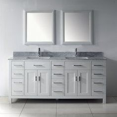 Spa Bathe Kenzie White 75-In Undermount Double Sink Bathroom Vanity Wi