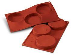 2 stks: Silikomart form, til f.eks. rösti  SF 042 DISCO per BISCOTTI Size: Ø 103 h 20 mm Volume: 3 x 140 ml Tot. 420 ml  FÅES HOS HW LARSEN