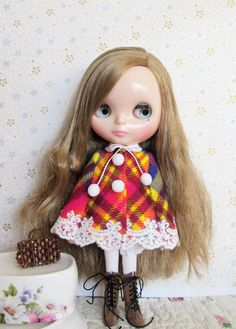 Multi color winter Tartan cape for Blythe Doll Spring sale 15% off