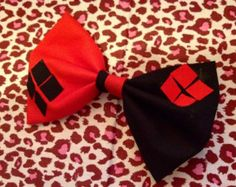 The Classic Harley Quinn Inspired Bow by FangirlCreation on Etsy