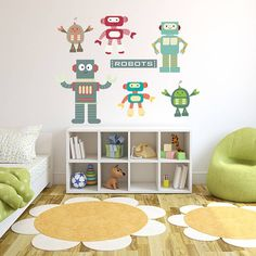 robots fabric wall stickers littleprints notonthehighstreet robot playing golf kids amp nursery sticker wallstickersfun