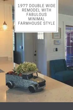 Love that farmhouse style! Mobile Home Renovations, Mobile Home Makeovers, Home Upgrades, Mobile Home Living, Home And Living, Double Wide Manufactured Homes, Double Wide Remodel, Wire Pendant Light, White Quartz Counter