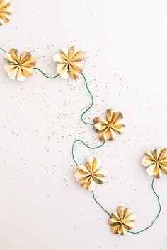 St Patricks Day Gold Leather Four Leaf Clover Garland DIY