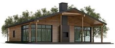 Three bedrooms floor plan, suitable to narrow lot, covered terrace, fireplace. Pole Barn House Plans, Cabin House Plans, Pole Barn Homes, Craftsman House Plans, Modern House Plans, Small House Plans, House Floor Plans, Sip House, House Roof