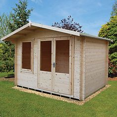 Shire 11 x 8 ft Berryfield Double Door Garden Cabin Shiplap Cladding, Timber Cladding, Tongue And Groove Timber, Apex Roof, Garden Cabins, Roof Shapes, Cabin Doors, Garden Fence Panels, Window Fitting
