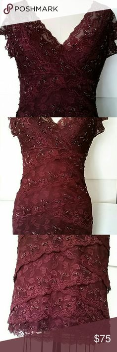 Stunning Cache tiered lace beaded size 6 dress Richest burgundy color, cap sleeves, layered beaded lace, double v-neck, stretch. Near perfect condition (I can't detect any flaws) Cache Dresses