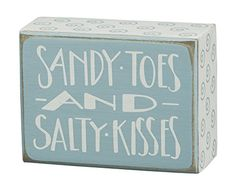 SANDY TOES AND SALTY KISSES  Decorative Mini Box Sign  4in * Check this awesome product by going to the link at the image.