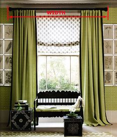 Floor to ceiling drapes to make the illusion of height? Also like the monochromatic green - botanical prints look great, too Floor To Ceiling Curtains, Ceiling Draping, Modern Curtains, Bay Window Treatments, Window Coverings, Small Living, Living Spaces, Living Rooms, Drapery Panels