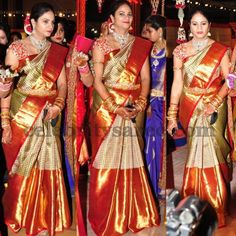 Revanth Reddy Wife at her Daughter Wedding - Saree Blouse Patterns South Indian Wedding Saree, Indian Bridal Sarees, Wedding Silk Saree, Indian Silk Sarees, South Indian Bride, South Indian Sarees, Indian Weddings, Saris, Bridal Blouse Designs