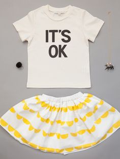Look for a girl. Benebene It's OK graphic t-shirt, Eclair skirt, A Mini Penny Hilled Pony necklace and pompom ring www.lublue.co.uk