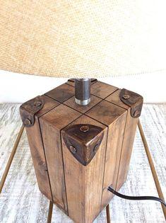 Bedside lamp, table lamp, wooden lamp, desk lamp, rustic lighting … - All For Decoration Rustic Table Lamps, Table Lamp Wood, Wooden Lamp, Desk Lamp, Bedside Lamps Wood, Bedroom Lamps, Bedroom Lighting, Bedside Desk, Wood Lamp Base