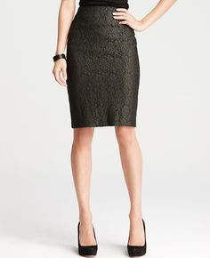 Glazed Lace Pencil Skirt