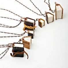 tiny leather book necklaces