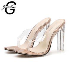 423df7bb 22.66 40% de DESCUENTO|GENSHUO 2019 jalea PVC zapatillas de cristal  abiertos Flip Flop Sexy tacón de Mujer Transparente Sandalias de tacón  Zapatillas ...