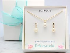 Bridesmaid gift,gold bridesmaid,will you be my bridesmaid,freshwater pearl jewelry set,single pearl jewelry set,dainty jewelry set by DIANPEARL on Etsy