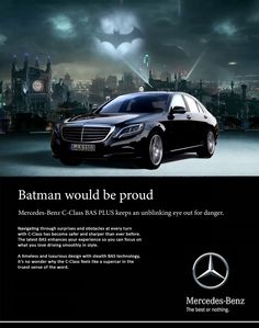 #car #mercedes #benz #advertising #advertisement #black #batman #batmobile #art #direction #copywriting #poster #design