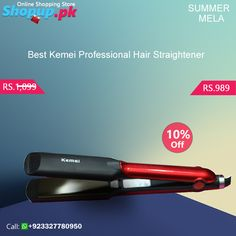 Kemei Professional Hair Straightener with power indicator light, temperature control up to 160-200 C, PTC heater with rapid heating and for all hair types.  Features:  Color: Red - Black Brand Warranty Adjustable heat settings between 150oC - 230oC Heats in 30 seconds Multi-voltage Ceramic Tourmaline and Teflon coated plate