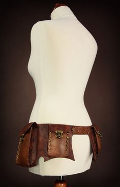 steampunk utility belt brown with 4 pockets, size S