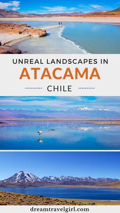 Atacama in Chile is amazing! Discover the most unreal landscapes in San Pedro de Atacama. My favorites: Piedras Rojas (Red Stones) and Salar de Atacama (Atacama Salt Flats). It is a photography dream. Click the post for more information. #chile #travel #atacama