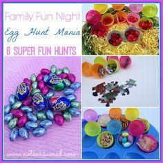 Family Fun Night: Egg Hunt Mania. 6 super fun and frugal egg hunts for your next family fun night.