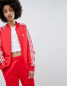 veste adidas a2 bandes rouge femme