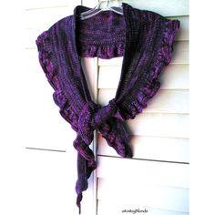 Ruffle Scarf Shawl Shawlette, Hand Knit Merino Wool Cashmere, Purple Violet Plum Eggplant