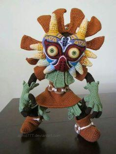 Crocheted Skull Kid, freestyle: http://goo.gl/2WiORR -Pamela (visit us at http://crochetersanonymous.com) #crochet #crafts #art #crochetersanonymous